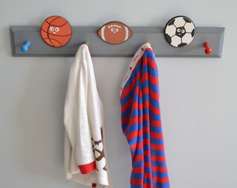 Customized Coat Rack Pegs - Sport Theme