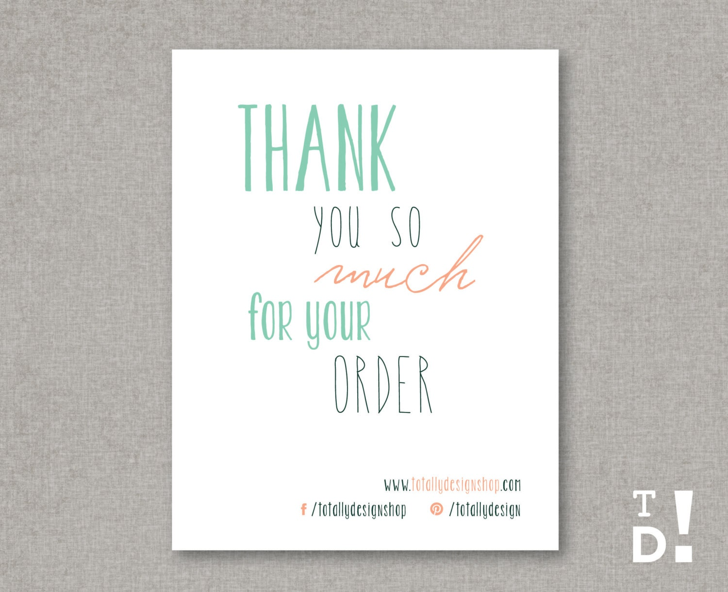 It's just a photo of Epic Thank You for Your Purchase Printable