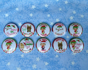 """Baby's 1st Christmas, Lil' Santa Baby, Christmas Cutie, 1"""" Flatback Buttons, 10 Buttons Total"""