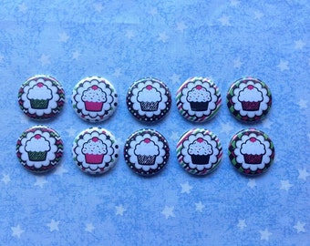 """Zebra Print, Cupcakes With Sprinkles, Birthday, 1"""" Flatback Buttons, 10 Buttons Total"""