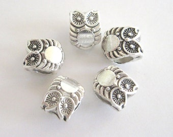 Silver Tone Large Hole Owl Beads,  Fits European Style Chain Bracelets, Necklace,  2 in a Pack  CLJewelrySupply