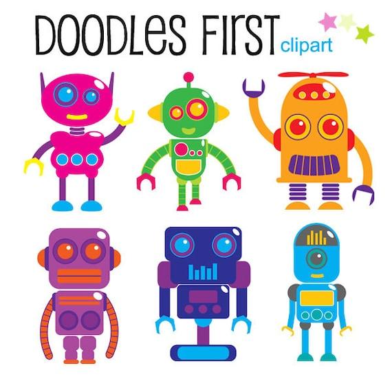 Robots Clipart Digital Clip Art for Scrapbooking Card Making