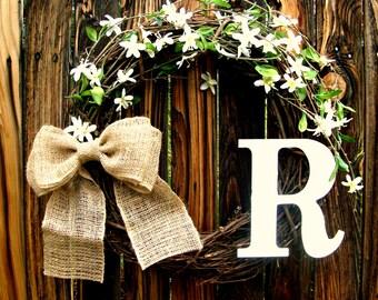 Apple Blossom Monogram Wreath - Monogrammed Wreath - Door Wreath - Year Round Wreath - Grapevine Wreath - Initial Wreath - Everyday Wreath