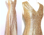 Vintage 60's shimmer gold lame' cocktail party dress. S M