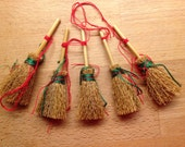 Set of 5 x Hand Made Mini Besoms (Broomsticks) ~ Tree Decorations - Perfect for Yule