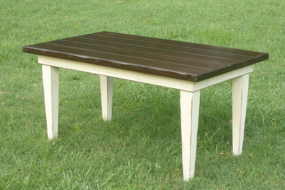 Items Similar To Handmade Wooden Rustic Kitchen Farm Table Two Tone Dark Walnut And Creamy