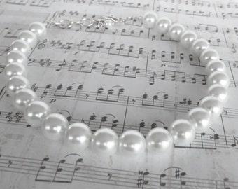 White Pearl Bridal Necklace - White Bridesmaid Jewelry - White Bridesmaid - Bridesmaid Necklace