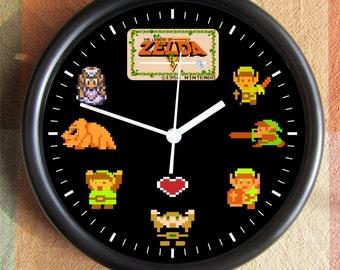 LEGEND OF ZELDA 8 Bit Characters Big 10 inch black wall clock  Ships Tomorrow
