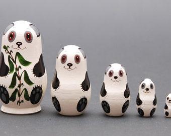Panda Nesting dolls matryoshka set  of  5 pc Free Shipping plus free gift!
