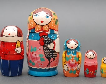 Russian Sergiev Posad Gzhel nesting doll with hen 5 pc Free Shipping plus free gift!
