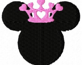 Mouse Head Princess Mini Embroidery Design