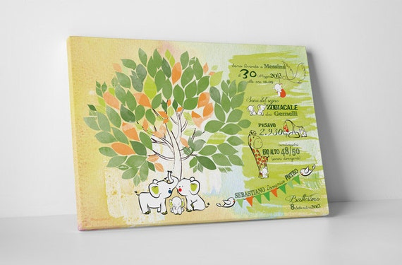 Baby shower tree watercolor guestbook on canvas with little elephants