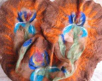 Irises. Nuno felted shawl