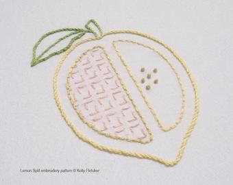 Lemon Split modern hand embroidery pattern - modern embroidery PDF pattern, digital download