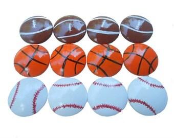 Custom Boys Football Baseball Basketball Athlete Sports Hand Painted Drawer Pulls Knobs