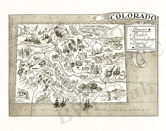 Pictorial Map of Colorado - fun illustration of vintage state map
