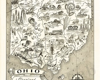 Pictorial Map of Ohio - fun illustration of vintage state map