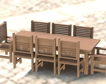 8ft Patio Table with Chairs Woodworking Plans