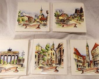 Set of 5 German Villeroy & Boch Porcelain Tiles, Vintage Architectural Salvage