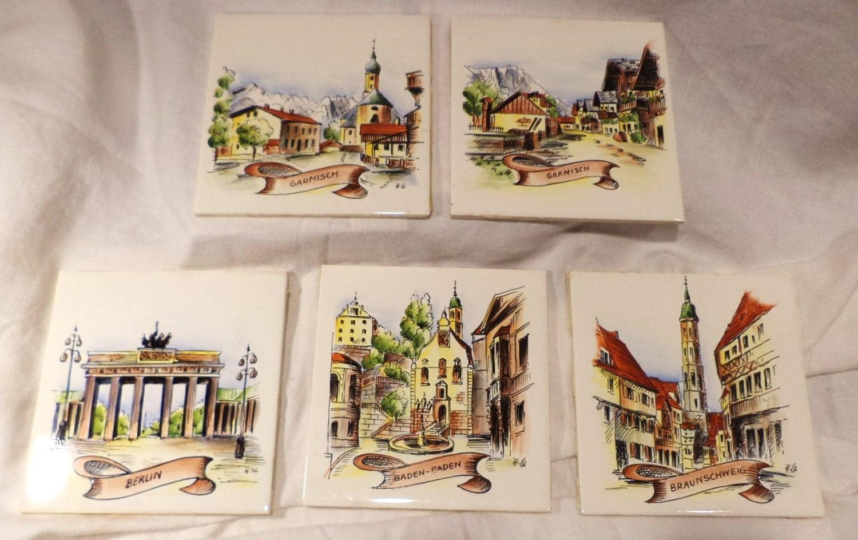 set of 5 german villeroy boch porcelain tiles vintage. Black Bedroom Furniture Sets. Home Design Ideas