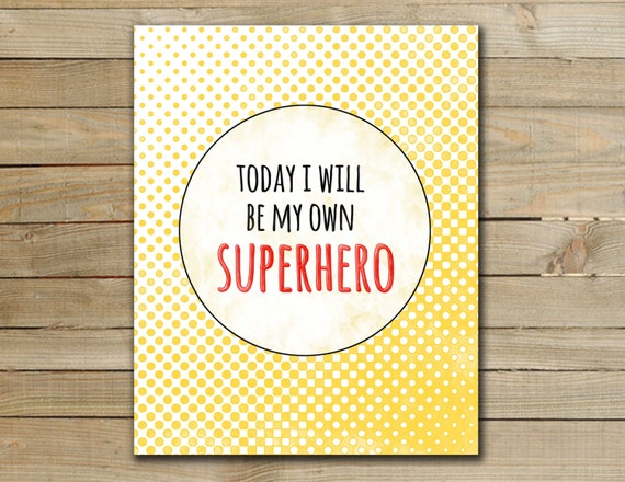 Superhero Art Print Nursery Inspirational By 2ChickStudio