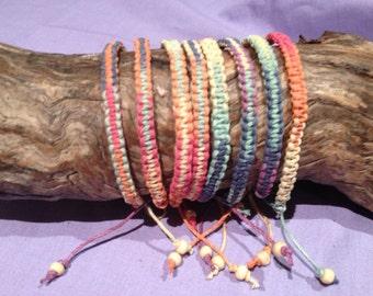 Handmade Hemp Friendship Bracelet or Anklet - Rainbow