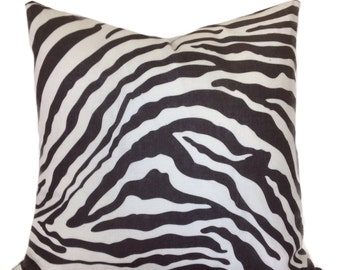 "Decorative Pillow Cover- Linen Throw Pillow Cover-Designer print ""Morocco Zebra"" Charcoal on Ivory-100% Linen"