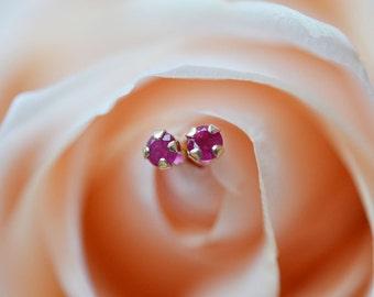 Natural Ruby Stud Earrings, Ruby Earrings, 14K Yellow Gold Stud Earrings, 2.5mm or 3mm Studs, July Birthstone, Gift For Her