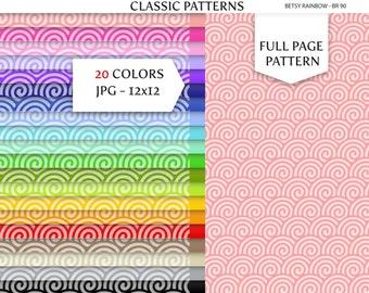 Wave Digital Paper Pack in 20 colors, scrapbook paper, background patterns - BR 090