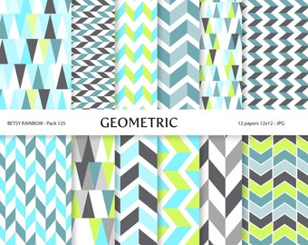 Geometric Digital Paper Pack, 12 blue and yellow digital papers - BR 125
