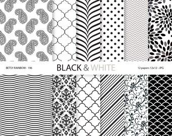 Black and white Digital paper pack, Black white paper, Digital paper black and white - BR 196