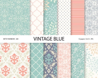 Digital paper vintage blue and pink, 12 papers - BR 200