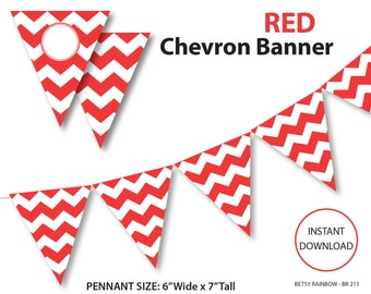 Red banner, chevron banner, bunting banner, red chevron banner, printable banner, pennants, DIY party  - BR 211