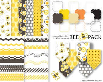 Bee Digital Paper Pack, Clipart Paper Pack, scrapbook paper, scrapbook clip art  - BR 304