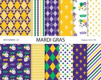 Mardi gras papers, Mardi gras digital paper, scrapbook paper, 12 digital papers - BR 310