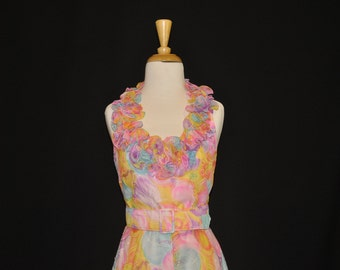 1970's Floral Halter Dress with Ruffle