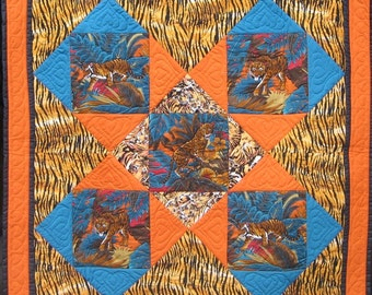 The Tiger Quilt,  wall hanging or knee rug - Free postage