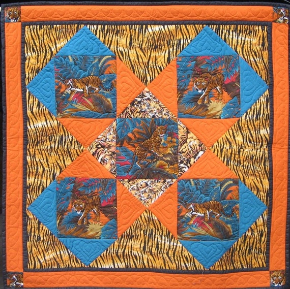 The Tiger Quilt Wall Hanging Or Knee Rug Free Postage