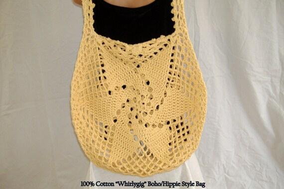 Crochet Cotton Bag : Money Bag, Cotton Crochet Tote, Hippie Purse, Casual Large Market Bag ...