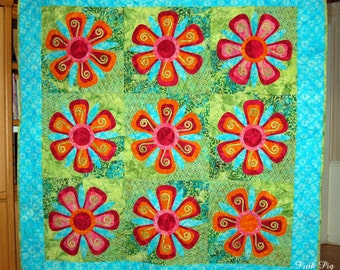 Fantasy Flowers Quilt or Wall-hanging.