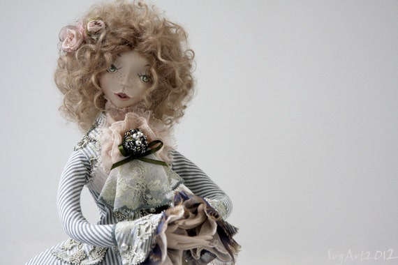 Art Doll Elisa made with Paperclay by hand