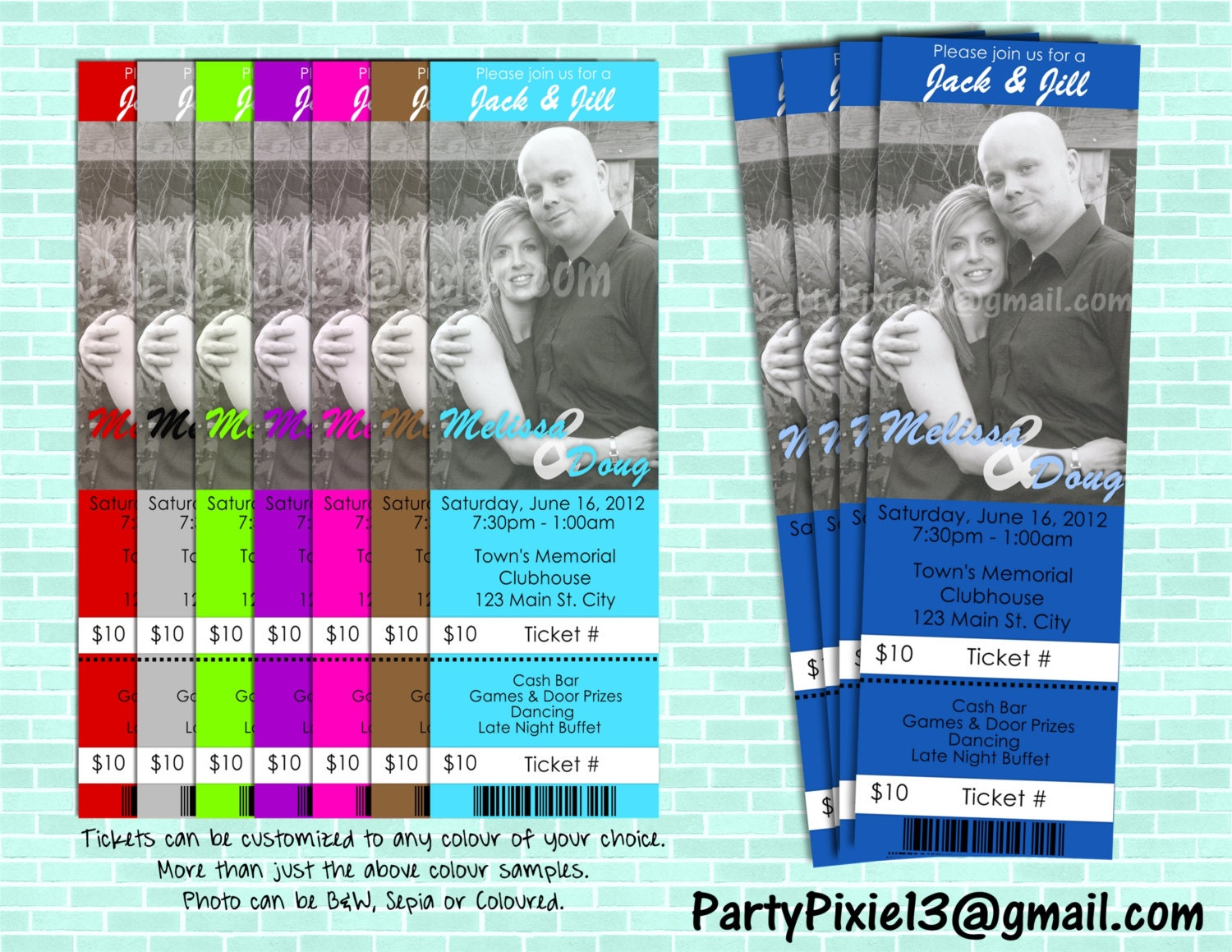 Jack and jill stagette buck and doe party invitation ticket for Jack and jill ticket templates