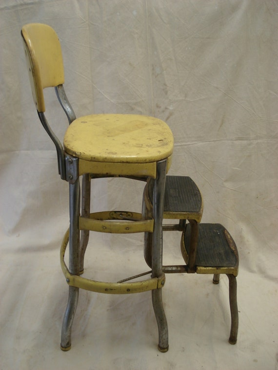Vintage Metal Yellow Folding Costco Chair Step Stool By