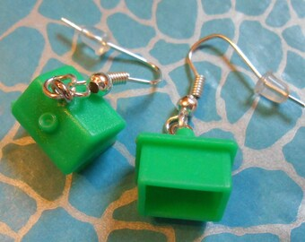 Hand Made MONOPOLY House Dangle Earrings New Ideal Gift