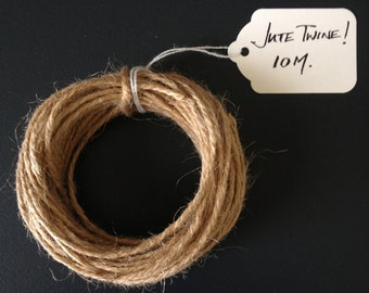 Jute Twine - Natural Jute Twine, Packaging Twine, DIY Wedding Invitations, Gift Wrapping Twine, Jute String, Luggage Tags, 10m
