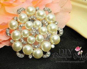 Rhinestone Pearl Brooch Bridal Embellishment for Brooch Bouquet Crystal Wedding Bridal Accessories Pin Back 52mm 009192