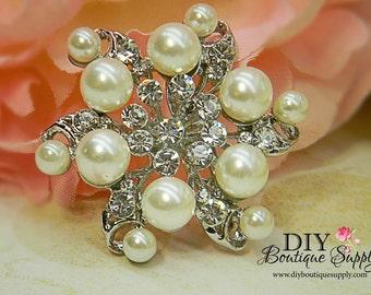 Pearl Brooch Rhinestone Brooch Sash Pin Brooch Bouquet Crystal Booch  Wedding Bridal Accessories Pin Back 45mm 338170
