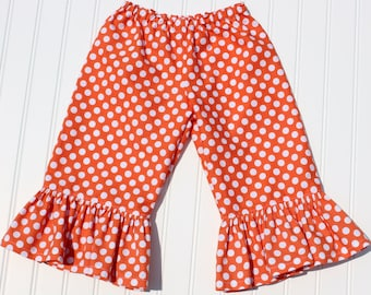Orange, Pink, Red, Polka Dot Ruffle Shorts, Capris, Pants