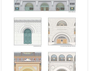 Louis Sullivan's Doors of Chicago architectural illustration poster