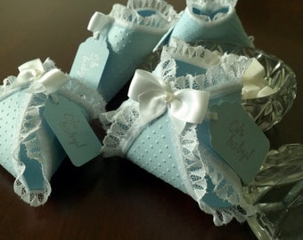 Set Of Ten Blue Embossed Lace Baby Diaper favors With Tags / Baby Shower Favors
